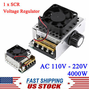 Ac 110 220v 4000w Scr Motor Speed Controller Volt Regulator Dimmer Thermostat Us
