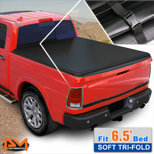 Vinyl Soft Top Tri fold Tonneau Cover For 02 16 Dodge Ram 6 5ft Truck Bed Black
