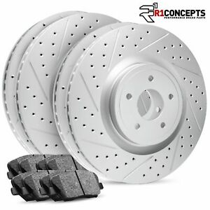 For 2013 2014 Ford Mustang Full Kit R1 Carbon Geomet Drill slot Brake Rotors pad