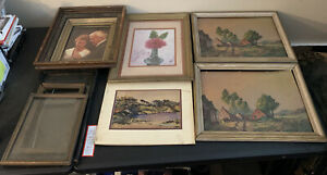 Lot Of 7 Vintage Wood Wall Hanging Picture Frames Rectangular Nature