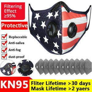 Flag Printed American Face Cover Nose Shield Valve Filter Pads Protective Unisex