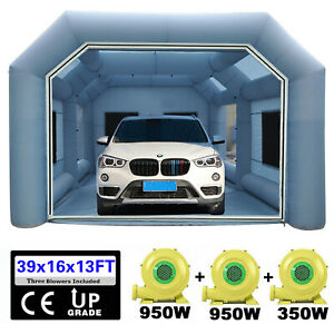 28x15x10ft Inflatable Spray Booth Paint Tent Mobile Giant Car Workstation Blue