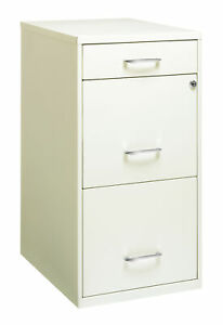 Space Solutions 3 Drawer File Cabinet With Pencil Drawer Pearl White