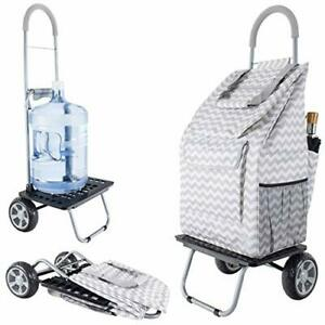 Bigger Trolley Dolly Grey Chevron Shopping Grocery Foldable Cart Free2dayship