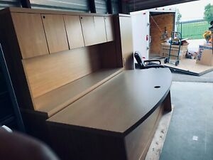 Sand Color Executive Office Desk And Hutch