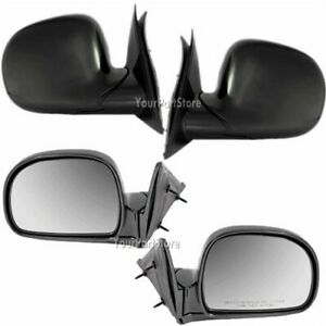 94 98 Chevy S10 Pickup Pu Truck Manual Rear View Door Mirror Mirrors Black Pair
