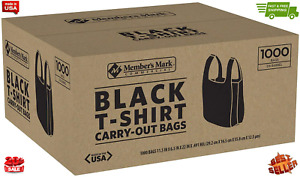 Black T shirt Thank You Plastic Grocery Store Shopping Carry Out Bag 1000ct