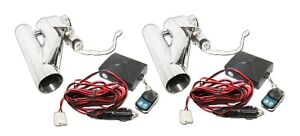 2x 2 5 Od 63mm Electric Control Cutout Dual Downpipe System Y Pipe W Remote Kit