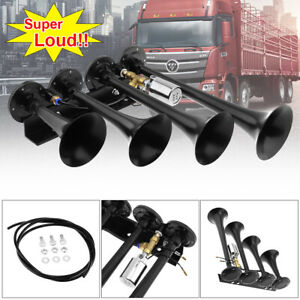 Horns Train Air Horn 4 Trumpets Black For Truck car suv Loud Sound 185 Db 24 12v