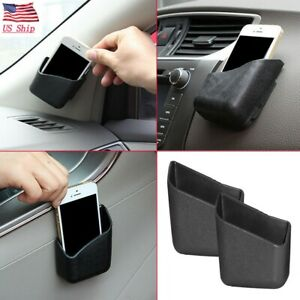 Us 2 Pcs Universal Black Car Accessories Phone Organizer Storage Bag Box Holder