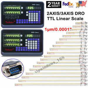 2 3 Axis Digital Readout Dro Ttl Linear Glass Scale Encoder Edm Milling Lathe Us