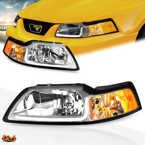 For 99 04 Ford Mustang Led Drl Chrome Housing Amber Corner Headlight Lamp Pair