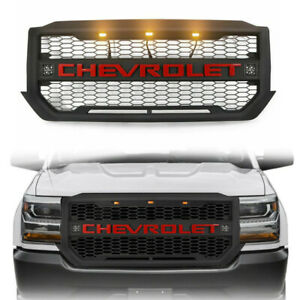 Front Grille Mesh Grill For 2016 2018 Chevrolet Silverado 1500 W turning Lights
