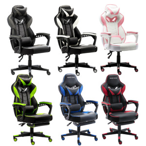 Gaming Chair Racing Computer Desk Swivel Seat Recliner Office Task Chair Leather