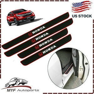 For Honda 4pcs Black Rubber Car Door Scuff Sill Cover Panel Step Protector