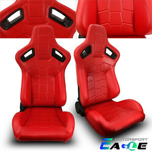 Jdm Universal Red Pvc Leather Sport Racing Seats Left right W slider Pair