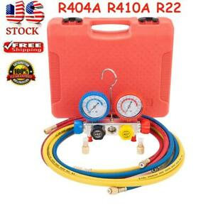 4 Valve R404a R410a R22 Hvac Hoses Coupler Adapter Ac Diagnostic Manifold Gauges