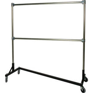 Z rack Heavy Duty Clothes Rack 60 L X 60 Uprights Double Rail Black 260602
