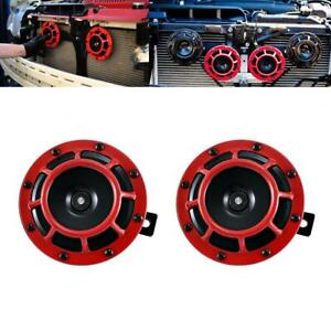 Pair 12v Super Loud Compact Electric Blast Super Tone Red Grill Hella Horn