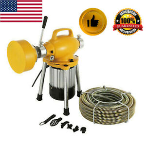 3 4 4 pipe Auger Sectional Drain Cleaner W cutter Snake Sewer Clog Machine Usa