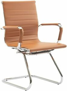 Heavy Duty Leather Office Guest Chair Mid Sled Reception Conference Room Chairs