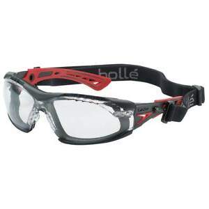 Bolle Rush Safety Glasses With Assembled Foam And Strap Black red Frame 40252