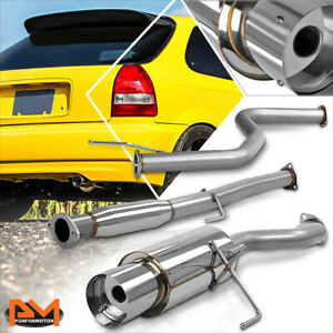 For 96 00 Honda Civic Hb Ej6 D16 3 dr 4 5 Tip Muffler Catback Exhaust System