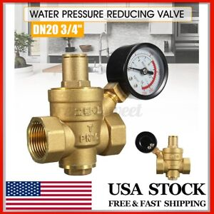 Dn20 3 4 Adjustable Brass Water Pressure Reducing Regulator Valves W Gauge Us