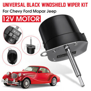 Universal Black Windshield Wiper Stainless Steel Motor 12v For Chevy Ford Jeep