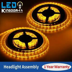 2x 300led 5m 2835 Smd Strip Light Yellow Flexible For Boat Car Truck Decor Light
