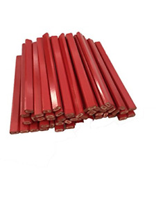 Flat Wooden Red With Red Lead Carpenter Pencils 72 Count Bulk Box Made In The