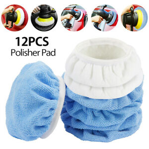 12x 5 6 Car Polisher Auto Bonnet Soft Wool Polishing Waxing Buffing Pad Cover