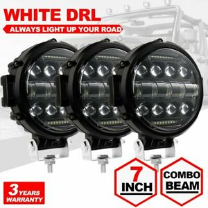 3x 7inch Led Work Light Fog Driving Lamp Combo Drl For Jeep Bull Bar 4wd Offroad