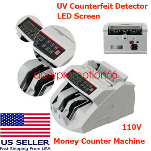Us Money Bill Counter Machine Cash Counting Bank Counterfeit Detector Uv Mg Cash