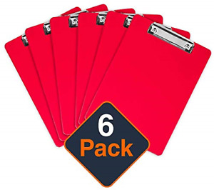 Plastic Clipboards Set Of 6 Multi Pack Clipboard Red Strong 12 5 X 9 Inch 100