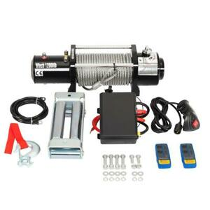 12000lbs 12v Electric Winch Towing Truck Trailer Steel Cable Off Road