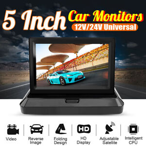 Foldable 5inch Color Tft Lcd Reverse Rear View Monitor For Car Back Up Camera Us