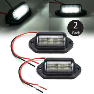 2x Universal 6 smd Led License Plate Tag Light Lamp For Truck Trailer Waterproof