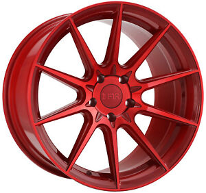 F1r F101 18x8 5 18x9 5 5x100 38 38 Candy Red Wheels 4 18 Inch Staggered Rims