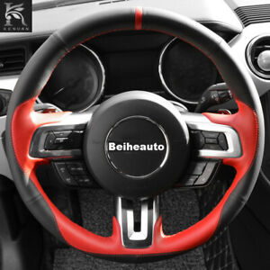 Black Leather Red Leather Car Steering Wheel Cover For Ford Mustang 2015 2020