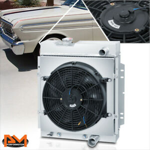 For 63 66 Ford Mustang Falcon Aluminum Core 3 Row Cooling Radiator W Fan Shroud