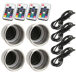 4pcs Led Stainless Steel Cup Drink Holder W Drain For Car Boat Rv Camper Table