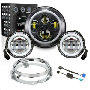 7 Led Headlight Passing Lights Mount Ring For Harley Davidson Touring Road King