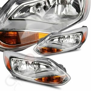 Chrome For 2012 2014 Ford Focus S Se St Headlights Head Lamps Left Right Pair