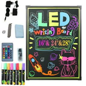 Led Flashing Illuminated Erasable Neon Sign Message Menu Writing Board W remote