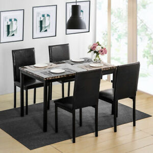 5pcs Dining Set Kitchen Table Set Dining Table And 4 Leather Chairs Black