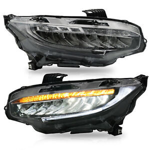 Customized Led Headlights With Drl Sequential Turn Signal For 16 18 Honda Civic