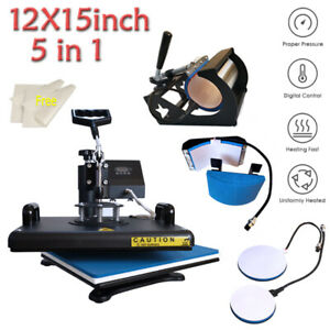 5 In 1 Heat Press Machine Digital Transfer Sublimation T shirt Mug Hat 15 x12