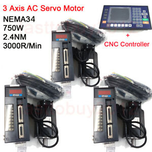 3 Axis Cnc Controller Ac Servo Motor Nema34 2 4nm 750w 3000rpm Kit For Milling
