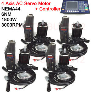 1 8kw 6nm Ac Servo 4axis Motor Driver Nema44 Cnc Controller 3m Cable For Milling